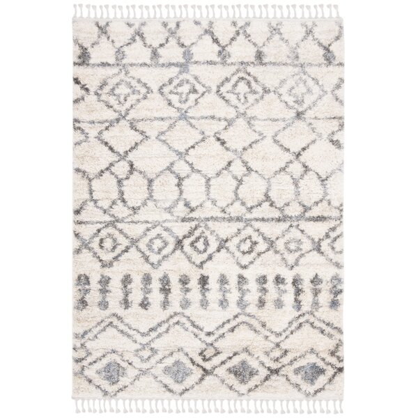 Union Rustic Triplett Fringe Shag Cream Gray Area Rug Reviews Wayfair