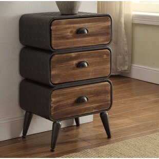 Williston Forge Krish Rounded 3 Drawer Nightstand