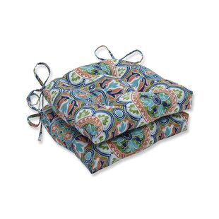 Tile Flamingo Reversible Indoor/Outdoor Dining Chair Cushion (Set of 2)