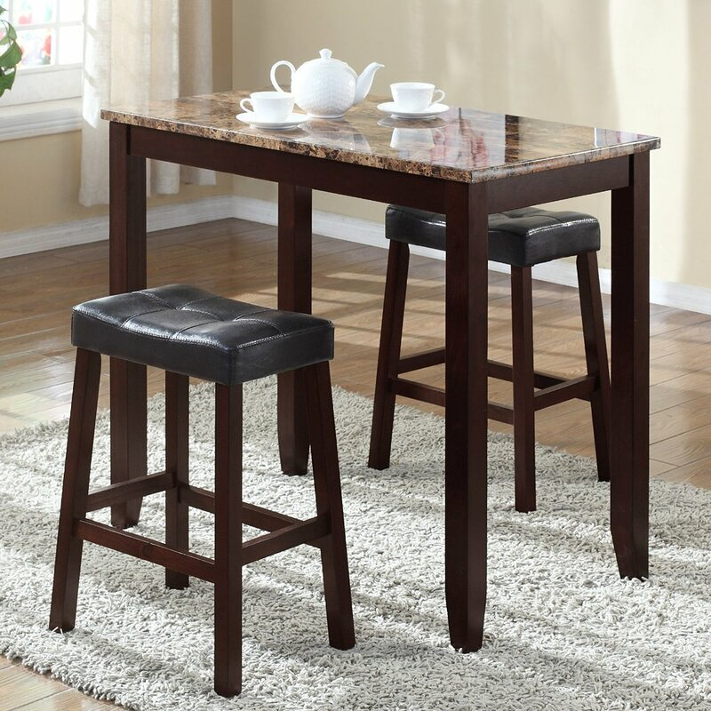 Attirant Daisy 3 Piece Counter Height Pub Table Set