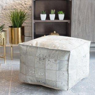 Vernita Foil Leather Pouf by Foundry Select