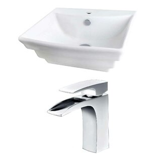 Best Ceramic 20 Wall-Mount Bathroom Sink with Faucet and Overflow ByRoyal Purple Bath Kitchen