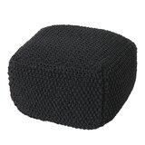 Gioia 20.5 Knitted Square Pouf Ottoman by Ebern Designs