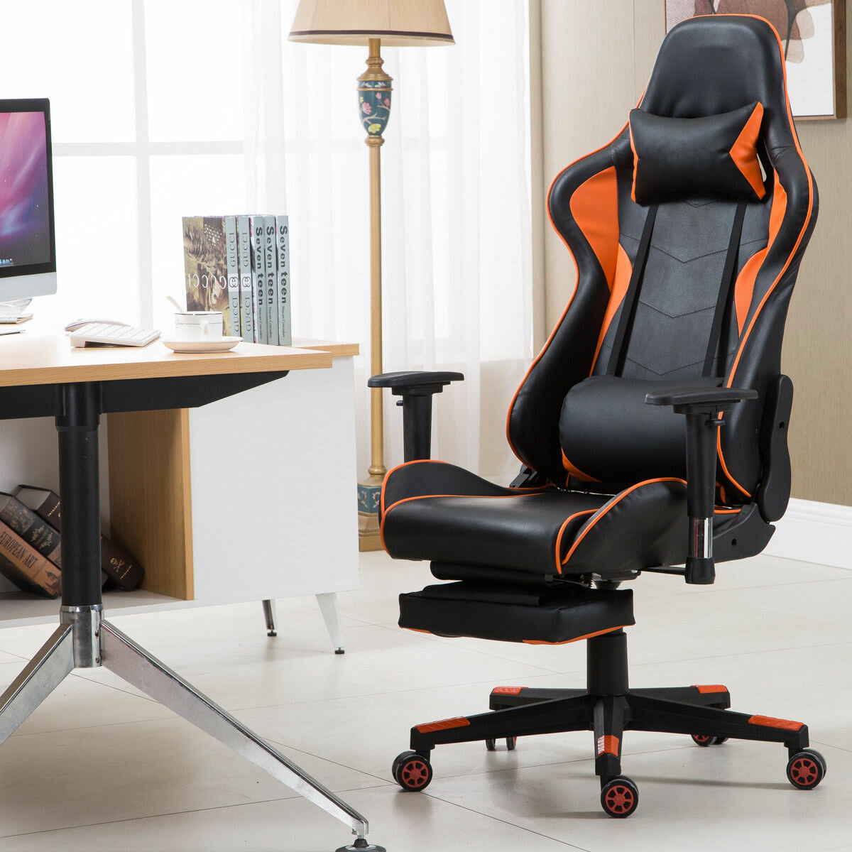 Excellent High Back Recliner Racing Gaming Chair With Lumbar Support And Footrest Bralicious Painted Fabric Chair Ideas Braliciousco