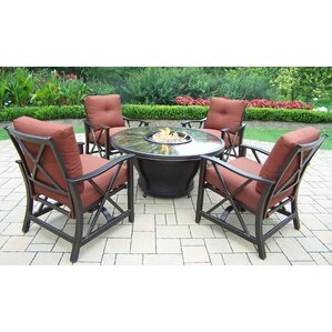 Marvelous Moonlight 5 Piece Fire Pit Seating Group With Cushions