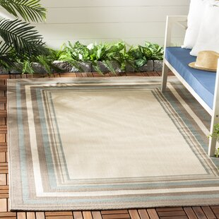 Short Beige/Brown/Blue/White Indoor/Outdoor Area Rug