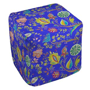La Roque Summer Floral Ottoman by Manual Woodworkers & Weavers