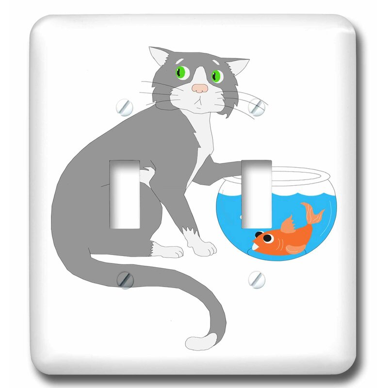 3drose Adorable Cat With Paw In Fish Bowl 2 Gang Toggle Light Switch Wall Plate Wayfair