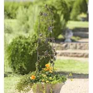 Birds and Vine Garden Iron Obelisk Trellis