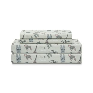 Piatt Microfiber Parisian Puppy Print Percale Sheet Set