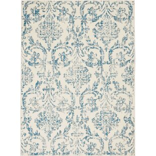 Wendy Abstract Ivory/Blue Area Rug by Ophelia & Co.
