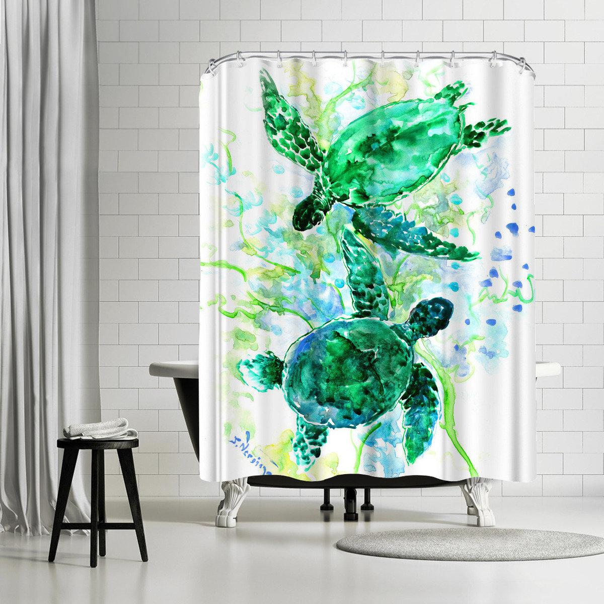 East Urban Home Suren Nersisyan Sea World Turtles Single Shower Curtain Wayfair