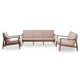 Kellner Mid-Century Modern 3 Piece Living Room Set