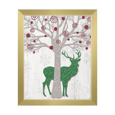 "'Glamour Red Tree & Green Reindeer ' Framed Graphic Art Click Wall Art Size: 26.5"" H x 22.5"" W, Format: Gold Framed"