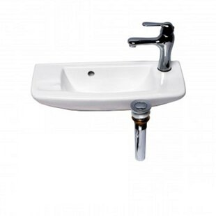 Bargain Vitreous China 20 Wall Mount Bathroom Sink with Overflow ByThe Renovators Supply Inc.