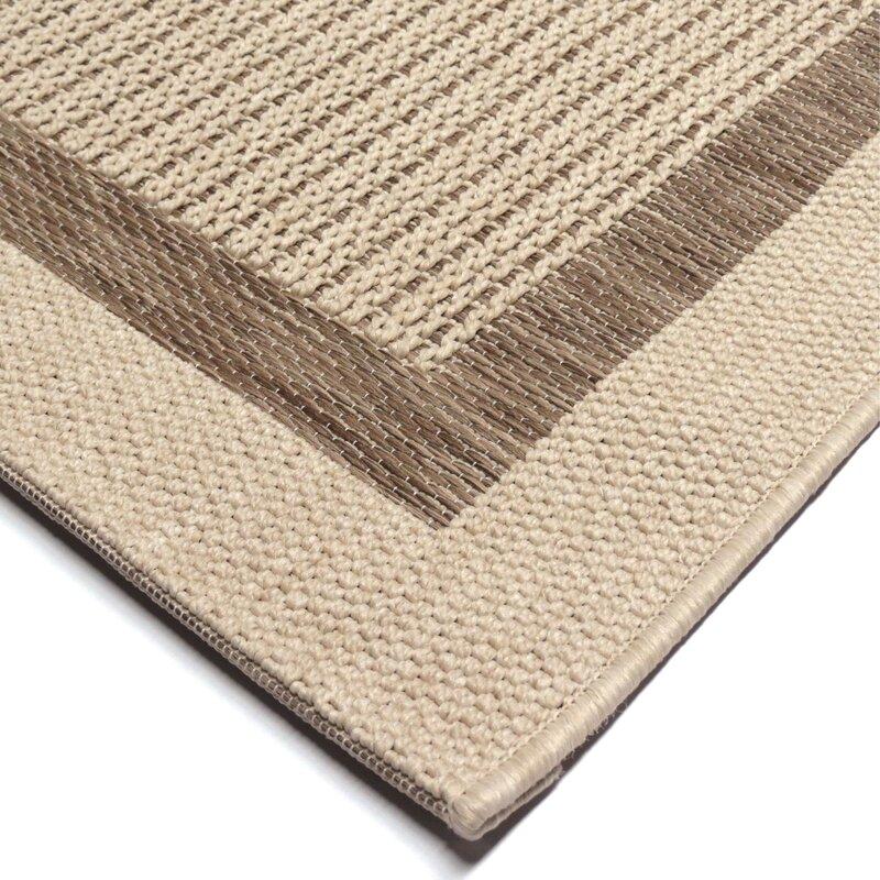 Acton Tan/Ivory Striped Indoor/Outdoor Area Rug & Reviews | Birch Lane