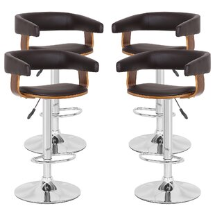 Mcfarlin Adjustable Height Swivel  Bar Stool - set of 4 (Set of 4) by Orren Ellis