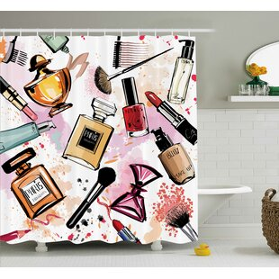 Reviews Patrica Girly Cosmetic Make Up Theme Pattern Perfume and Lipstick Nail Polish Brush Modern City Shower Curtain ByEbern Designs
