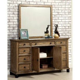 Zebadiah 9 Drawer Combo Dresser with Mirror