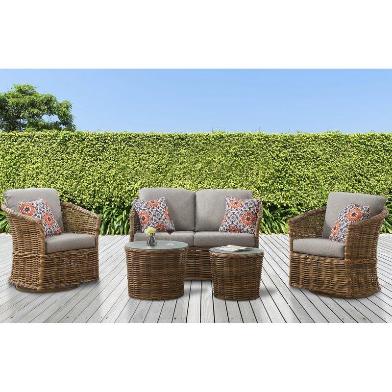 Bayou Breeze Isola 5 Piece Rattan Sofa Seating Group With Cushions Wayfair