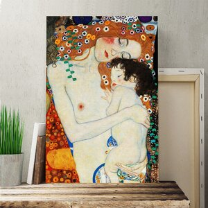 'Mother and Child Baby' by Gustav Klimt Painting Print on Canvas