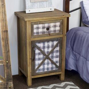 Delicia Décor Furniture Rustic Wooden Bedside End Table with Storage