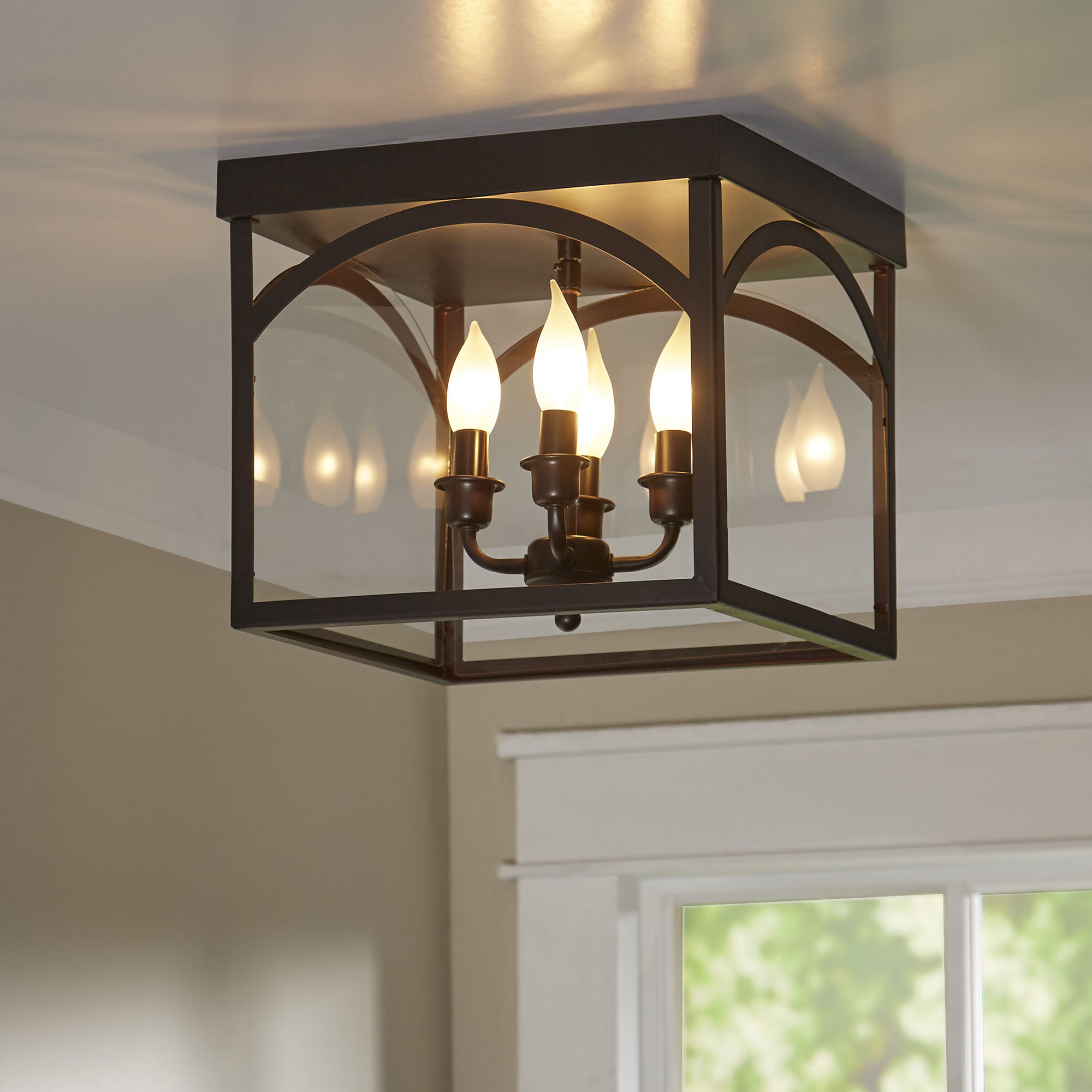 Laurel foundry modern farmhouse mount airy 4 light flush mount reviews wayfair
