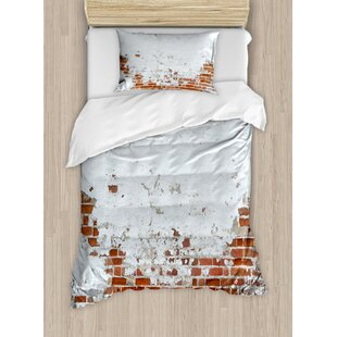 dated damaged peeling wall covered with paint vintage inspired city scene duvet set - Vintage Bedding