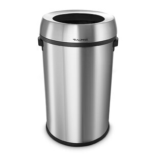 Alpine Industries Stainless Steel 17 Gallon Open Top Trash Can