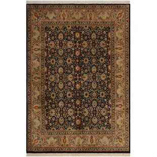 Read Reviews One-of-a-Kind Roca Hand-Knotted 8'1 x 9'10 Wool Black/Light Green Area Rug By Isabelline