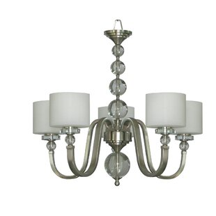 Red Barrel Studio Winder 5-Light Satin Steel Shaded Chandelier