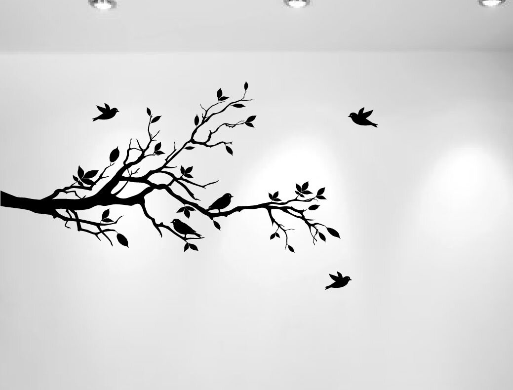 Merveilleux Tree Branches With Leaves And Love Birds Nursery Wall Decal