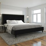 Audrey Upholstered Low Profile Platform Bed by CosmoLiving by Cosmopolitan