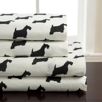 Winter Nights Scotty Dog Flannel 100 Cotton Sheet Set Elite Home Products Bedding Size Queen Shefinds