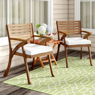 Beachcrest Home Coyne Patio Dining Chair with Cushion (Set of 2)