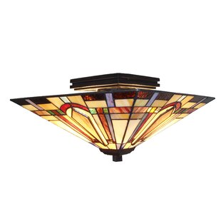 Tiffany 2-Light Semi Flush Mou..