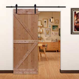 Paneled Wood And Metal Unfinished Barn Door With Installation Hardware Kit