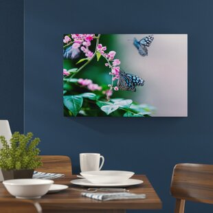 Pink flower wall art wayfair beautiful butterflies and pink flowers wall art on canvas mightylinksfo