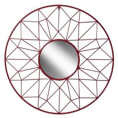 Wrought Studio Reeder Metal Wall Mirror Color: Red
