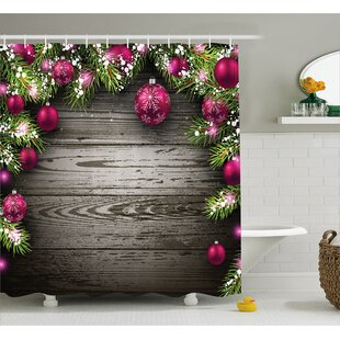 Christmas Rustic Balls Branch Shower Curtain + Hooks
