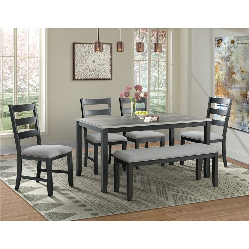 6 Chair Dining Set: Alcott Hill Mavis 6 Piece Solid Wood Dining Set & Reviews