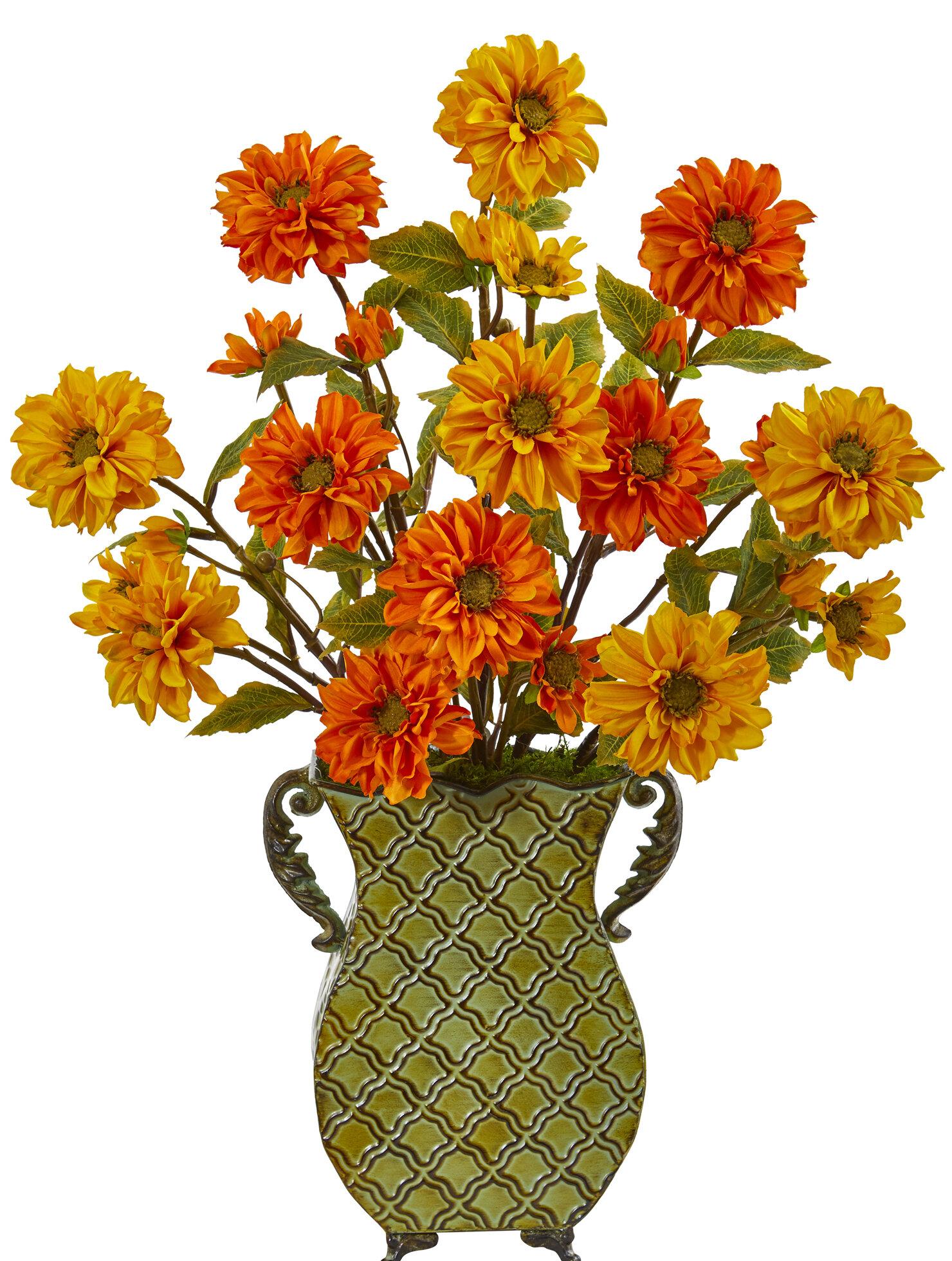 August Grove Artificial Zinnia Floral Arrangement In Planter Wayfair