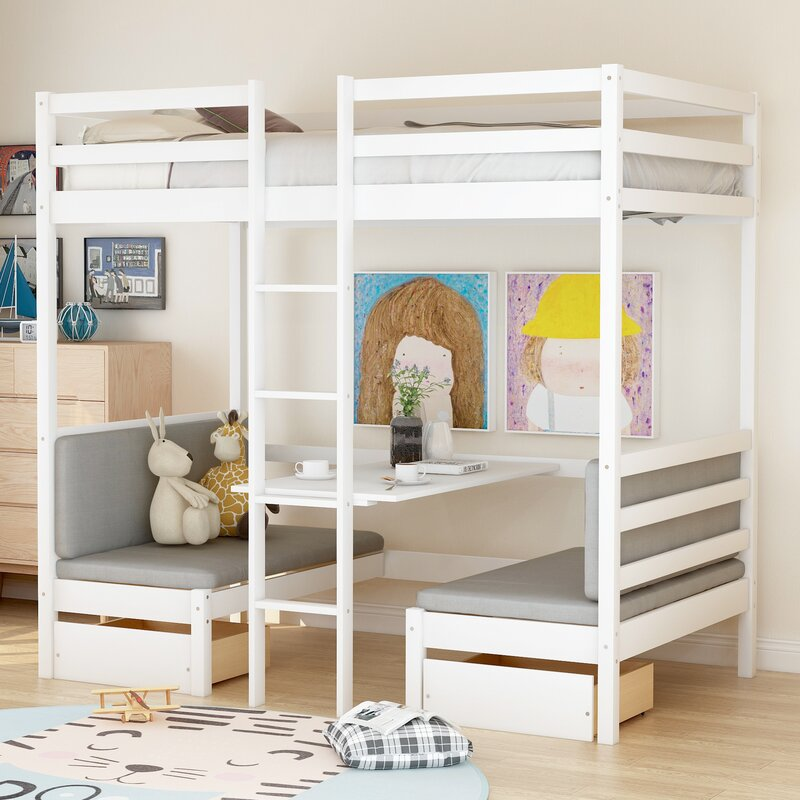 Isabelle Max Bain Twin Loft Bed With Desk Reviews Wayfair
