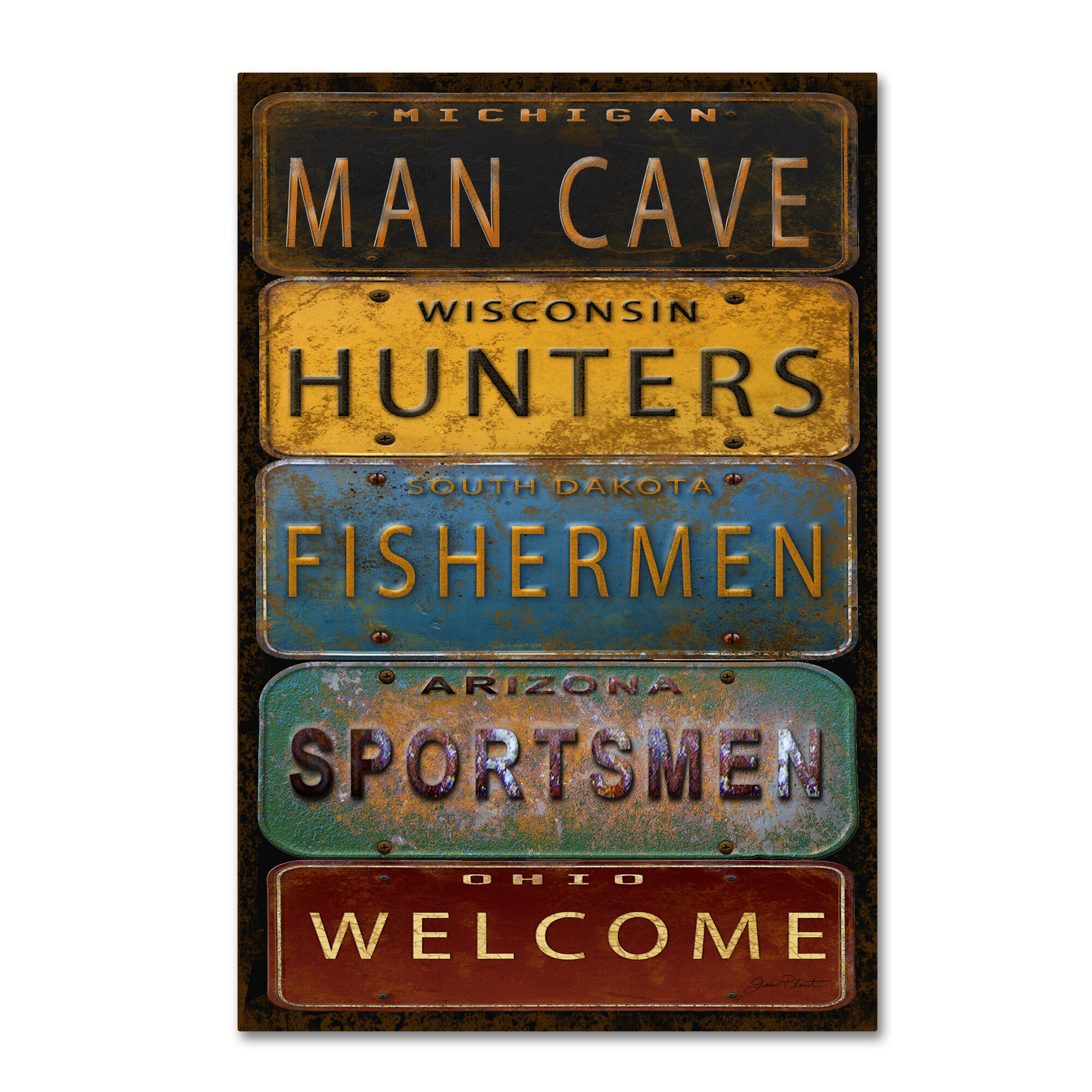 Millwood Pines License Plates Man Cave Textual Art On Wrapped
