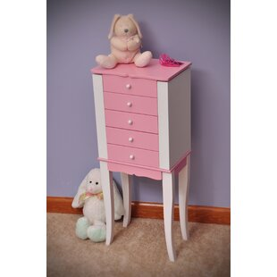 Harriet Bee Rivka Girl's Jewelry Armoire in Pink and White