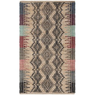 Zap Cod Handwoven Flatweave Cream/Black Area Rug By Union Rustic