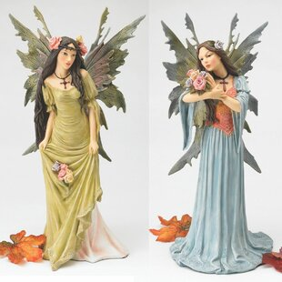 Design Toscano The Forest Fairies 2 Piece Moss Fairy and Skye Fairy Statue Set