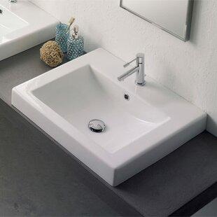 Scarabeo by Nameeks Ceramic Rectangular Drop-In Bathroom Sink with Overflow