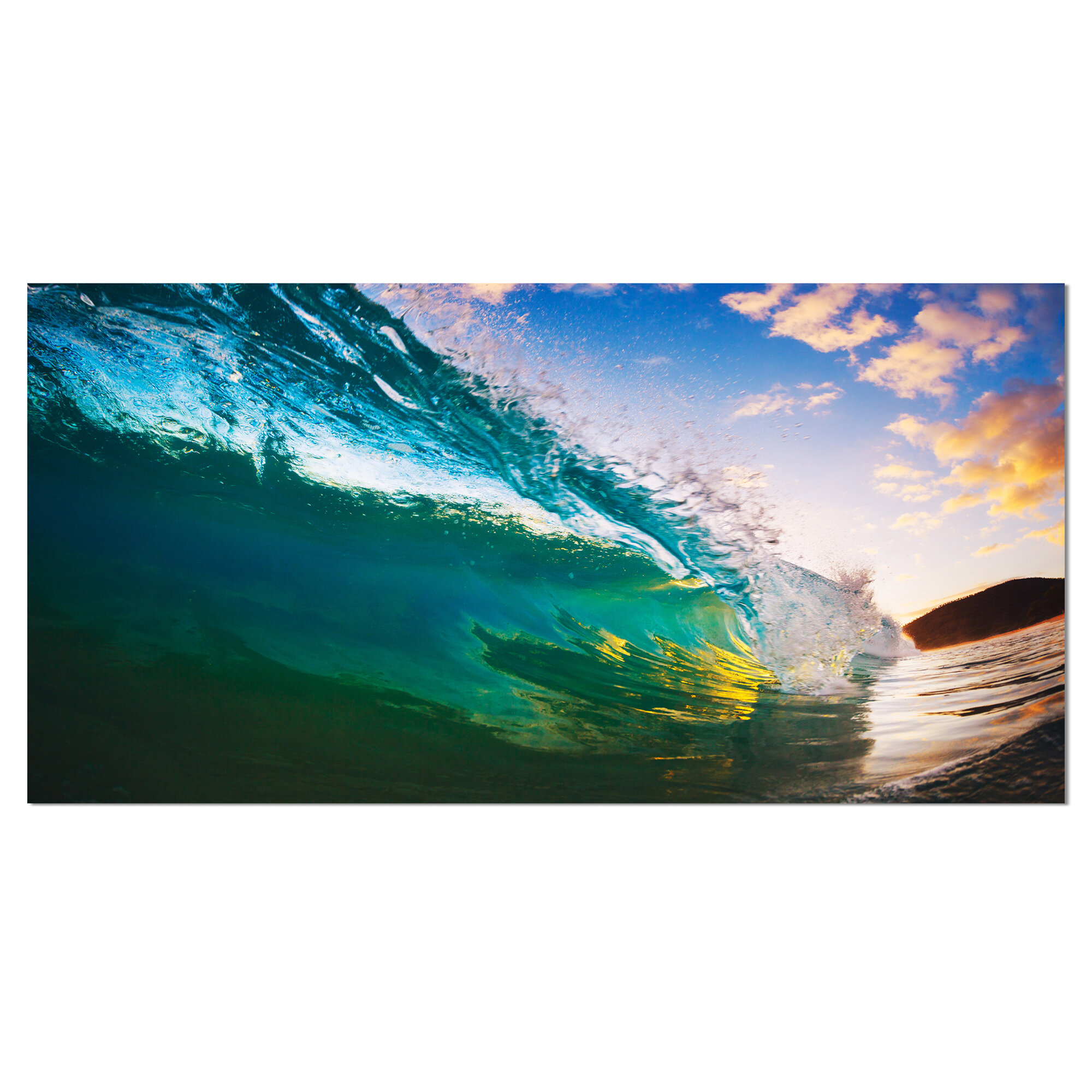 Designart Ocean Wave At Sunset Photographic Print On Wrapped Canvas Reviews Wayfair