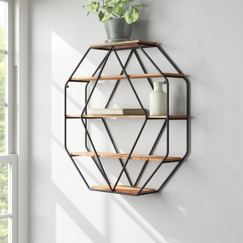 Kennesaw 5 Piece Hexagon Solid Wood Floating Shelf